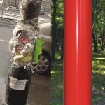 Zdjęcie obklejonego słupa zestawione z tym czerwonym czystym